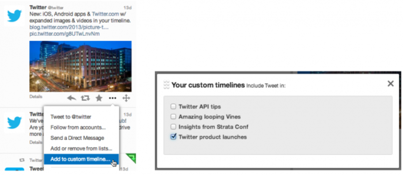 Adding Tweets to custom timeline via More Actions … menu