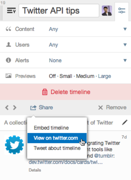 Column options panel for a custom timeline including sharing options