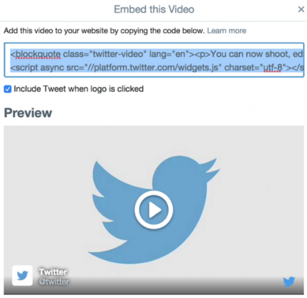 Embed Twitter-hosted video on your website