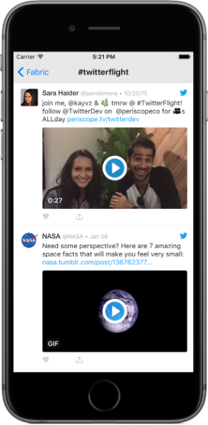 Launching enhanced video player and auto-looping GIFs in Twitter Kit