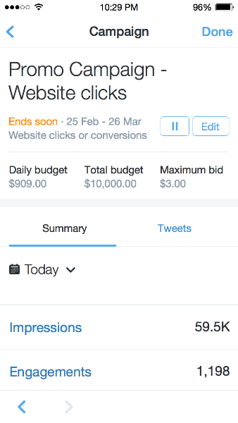 Manage Twitter Ads on the go