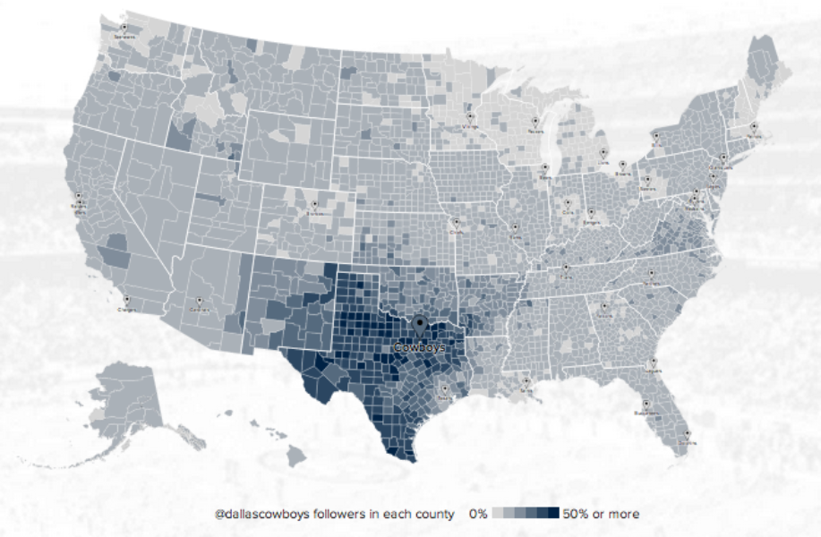Twitter @Cowboys fan map. Click image to explore it