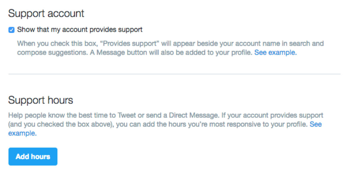 Twitter Customer support settings page