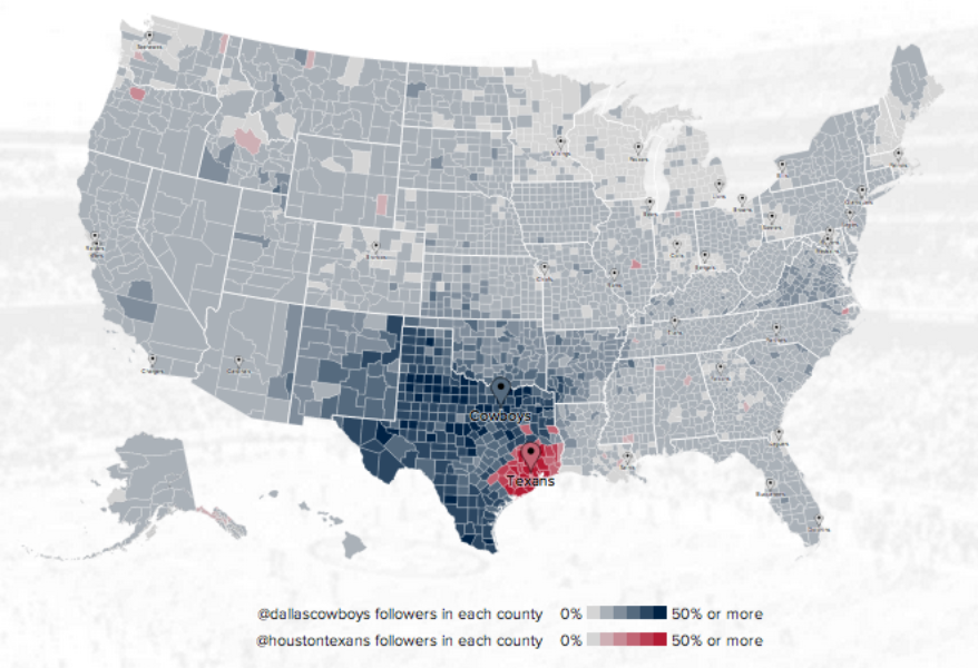 NFL fan map: Where are your team\'s followers?