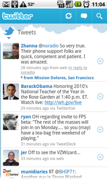 Twitter for Android: Robots like to share too