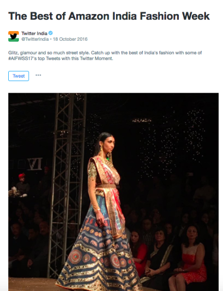 Twitter gave the best seat to Amazon India Fashion Week Spring-Summer 2017