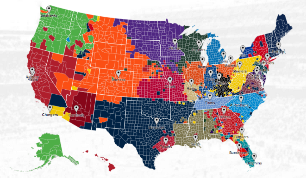 Twitter NFL fan map. Click image to explore it