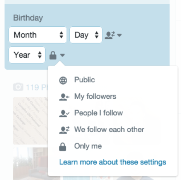 Twitter's birthday visibility settings