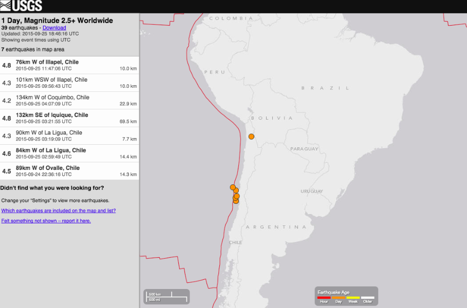 USGS map of earthquakes