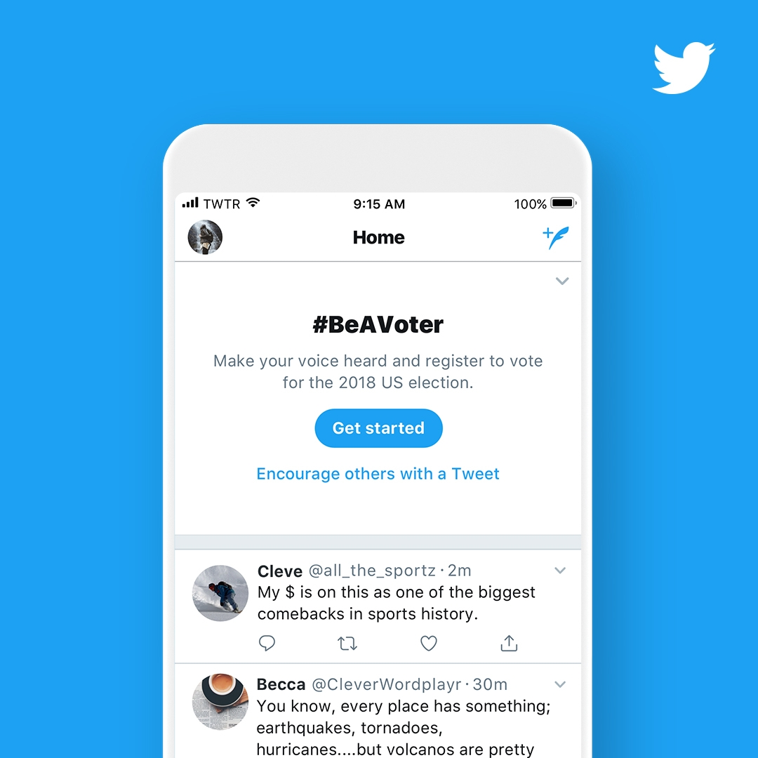 Twitter's Launching #BeAVoter Campaign to Promote Participation in the 2018 US Election 1 | Digital Marketing Community